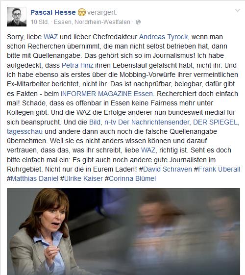 Screenshot - Facebookseite von Pascal Hesse