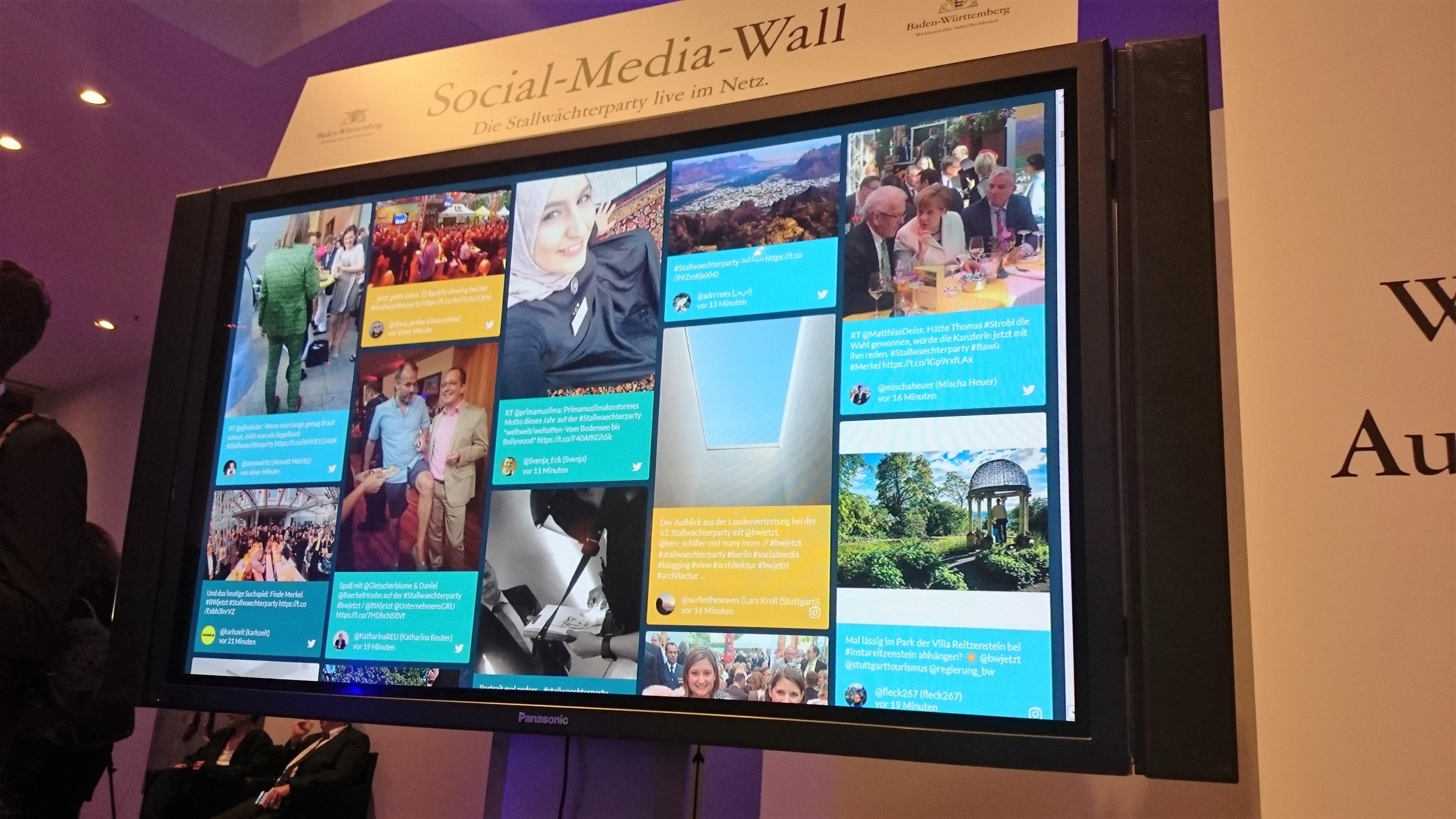Auf der Veranstaltung waren mehrere Social Media Walls aufgestellt, die unsere Tweets und Postings mit den Aktionshashtags zeigten.